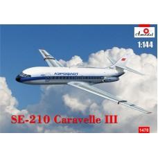 Amodel 1/144 Пассажирский лайнер Sud Aviation SE.210 Caravelle III. № 1478