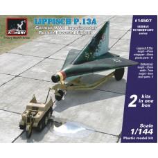 Armory Models Group 1/144 Немецкий экспериментальный реактивный истребитель Lippisch P.13a с Sd.Kfz.2 Kettenkrad. № 14507