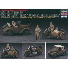 "Hasegawa 1/48 Японские мотоцикл с коляской (Type 97 Sidecar) и автомобиль cедан ""Kurogane 4WD (Model 3) Type 95. № 36502"