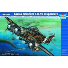 Trumpeter 1/48 Итальянский средний бомбардировщик-торпедоносец Savoia-Marchetti S.M.79-II Sparviero. № 02817
