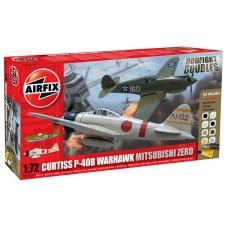 Airfix 1/72 Воздушный бой американского истребителя Curtiss P-40B и японского истребителя Mitsubishi Zero. № A50127