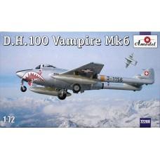 Amodel 1/72 Британский истребитель-бомбардировщик Vampire FB.Mk.6. № 72208