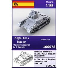 Zebrano 1/100 Испанский лёгкий танк Pz.Kpfw.I Ausf A Breda 2 cm. № 100078