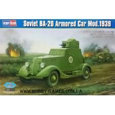 Hobby Boss 1/35 Советский лёгкий бронеавтомобиль БА-20 (1939 года). № 83883