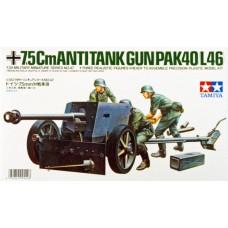 Tamiya 1/35 Немецкое противотанковое орудие 7,5cm (PaK 40/L46), с артиллеристами. № 35047