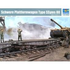 Trumpeter 1/35 Немецкая железнодорожная платформа для перевозки тяжёлых танков (Schwere Plattformwagen Type SSyms 80). № 00221