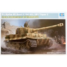 Trumpeter 1/35 Немецкий тяжёлый танк Pz.Kpfw.VI Ausf.E Sd.Kfz.181 Tiger I (Late Production) w/Zimmerit. № TRU_09540