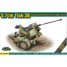 ACE 1/72 Немецкое зенитное орудие 3,7cm Flak.36 с амуниционным прицепом Sd.Ah.52. № 72570
