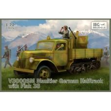 IBG Models 1:72 Немецкий полугусеничный грузовой автомобиль V3000SM Maultier, с зенитным орудием Flak 38. № 72075