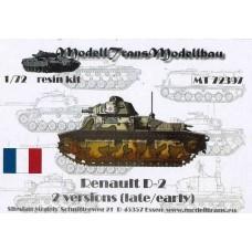 ModellTrans 1:72 Французский средний пехотный танк Char de Bataille D2 (Renault) первых серий. № MT72397