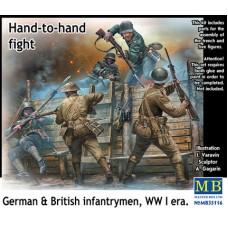 Master Box 1/35 Британские и Германские солдаты - рукопашная, Первая Мировая война (фигурки, окоп). № 35116