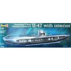 Revell 1/125 Немецкая подводная лодка U-47 U-Boot с интерьером. № 05060