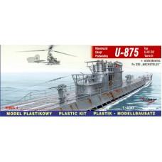 """Mirage Hobby 1:400 Немецкая подводная лодка U-875 Type U-IXD2 Turm II + Fa 330 """"BACHSTELZE"""". № 40043"""