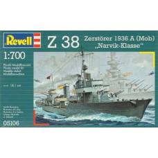 Revell 1/700 Немецкий эскадренный миноносец  Z-38 «Zerstoerer», Мод. 1936A. № REV_05106
