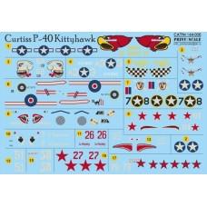 Print Scale 1/144 Декаль Curtiss P-40 Kittyhawk. № 144-006