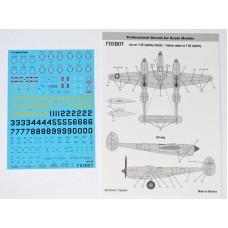Foxbot 1/32 Декаль технические надписи на Lockheed P-38 Lightning. № 32-010
