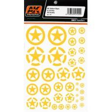 AK Interactive 1/35 Декаль Американские желтые звезды (сухая декаль). № AK-101