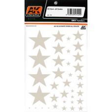 AK Interactive 1/35 Декаль Американские белые звезды (сухая декаль). № AK-102