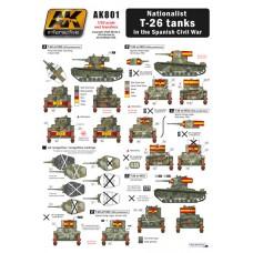 AK Interactive 1/35 Декаль Националисты на танках T-26 (Испанская Гражданская Война). № AK801