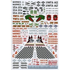 Authentic Decals 1/72 Декаль F-18 Hornet Modern US Marine Corps. № AD72-23