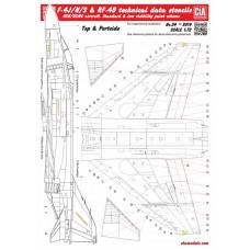 CtA 1/72 Декаль Технические надписи на F-4J/N/S & RF-4B Phantom, для 3 самолетов. № CtA-024