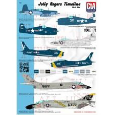 """CtA 1/72 Декаль самолеты эскадрильи """"Jolly Rogers """", часть №1. № CtA-005"""