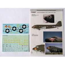 Foxbot 1/72 Декаль Douglas C-47 Pin-Up Nose Art с техническими надписями (Часть 2). № 72-018