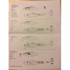 Superscale International 1/72 Декаль P-38J & L Lightnings Bong, McGuire, Cline and Issacson. № 72-630