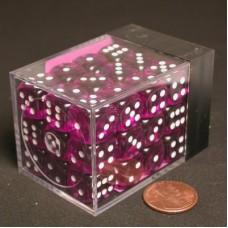 Набор кубиков Chessex, цвет Прозрачный Фиолетовый/Белый 12 мм d6 (36 штук). № CHX23807