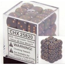 Chessex Набор кубиков, цвет Светло-Серый/медь 12 мм d6 (36 штук). № CHX25820