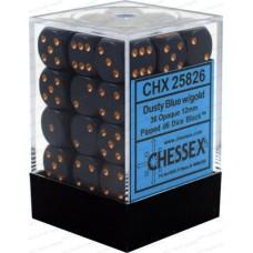 Chessex Набор кубиков, цвет Пыльно-Синий/медь 12 мм d6 (36 штук). № CHX25826