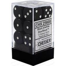 Chessex Набор кубиков, цвет Непрозрачный Чёрный/Белый 16 мм d6 (12 штук). № CHX25608