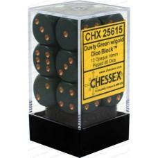 Chessex Набор кубиков, цвет Непрозрачный Пыльный Зелёный/Медь 16 мм d6 (12 штук). № CHX25615