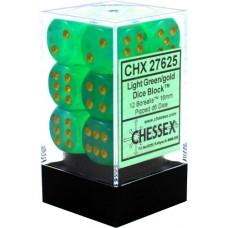 Chessex Набор кубиков серии Borealis™, цвет Светло-Зелёный/Золотой (12 штук). № CHX27625