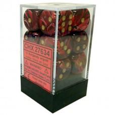 Chessex Набор кубиков серии Vortex™, цвет Бургундский/Золотой 16 мм d6 (12 штук). № CHX27634