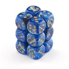 Chessex Набор кубиков серии Vortex™, цвет Голубой/Золото 16 мм d6 (12 штук). № CHX27636