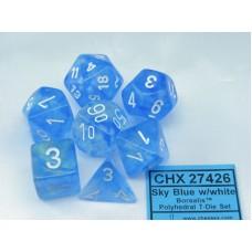 Chessex Набор кубиков серии Borealis™ Небесно-Голубой/Белый D&D Set (7 штук). CHX27426