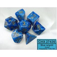 Chessex Набор кубиков серии Vortex™, цвет Голубой/Золото D&D Set (7 штук). № CHX27436