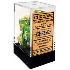 Chessex Набор кубиков серии Vortex™ Жёлто-Зелёный/Белый D&D Set (7 штук). CHX27452