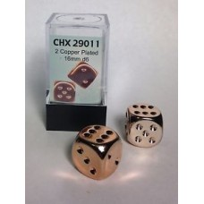 Chessex Набор кубиков, Покрытый Медной краской 16 мм d6 (2 штуки). № CHX29011