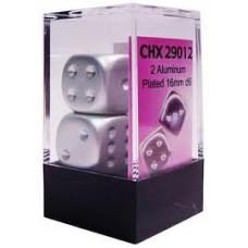 Chessex Набор кубиков, Покрытый Алюминиевой краской (матовый) 16 мм d6 (2 штуки). № CHX29012