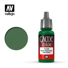 Acrylic Vallejo: Game Color Акриловая краска Sick Green (Болезненно-Зелёный). 72029