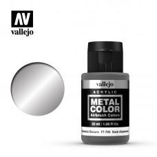 Acrylic Vallejo: Metal Color Акриловая краска Dark Aluminium (Тёмный Алюминий). 77703