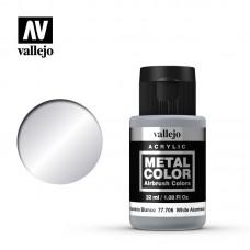 Acrylic Vallejo: Metal Color Акриловая краска White Aluminium (Белый Алюминий). 77706