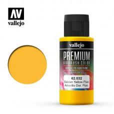 Acrylic Vallejo: Premium Color Акрил-полиуретановая краска Fluorescent Golden Yellow (Флуоресцентный Золотисто-Желтый). 62032
