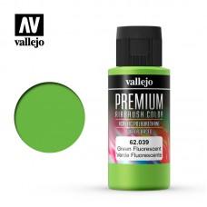 Acrylic Vallejo: Premium Color Акрил-полиуретановая краска Fluorescent Green (Флуоресцентный Зеленый). 62039