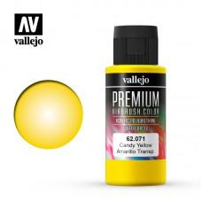 Acrylic Vallejo: Premium Color Акрил-полиуретановая краска Candy Yellow (Карамельный Жёлтый). 62071