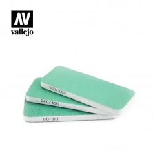 Acrylic Vallejo: Hobby Tools Набор Наждачек (3 штуки) (Flexi Sanders Dual-Grit (80x30x6 мм)). T04003
