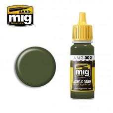 Ammo by Mig Jimenez: Акриловая краска Olivgrun opt.2 RAL 6003 (Оливковый зелёный, вариант 2). AMIG0002