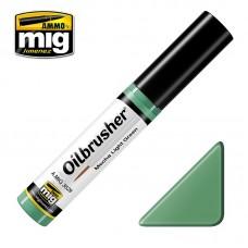 Ammo by Mig Jimenez: Mecha Light Green (Светло-зеленый Mecha) масляная краска с тонкой кистью аппликатором. AMIG3529